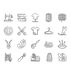 Sewing charcoal draw line icons set vector
