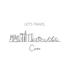 Single continuous line drawing cairo city vector
