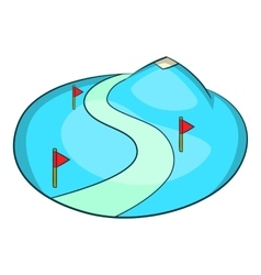 Ski slope of the snow mountain icon cartoon style vector