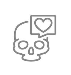 skull with heart in speech bubble line icon bone vector image