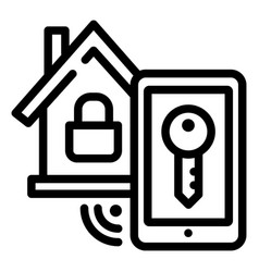 smart house lock icon outline style vector image