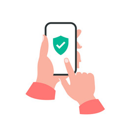 Smartphone in your hand concept shield check mark vector