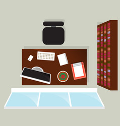Top view home office interior with window vector