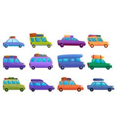 Travel on car icons set cartoon style vector
