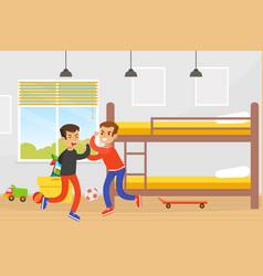 Two boys fighting in room disagreement between vector