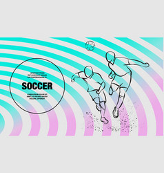 Two soccer players fighting for ball vector