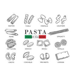 Types italian pasta or macaron vector