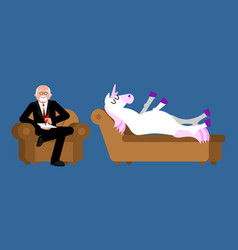 Unicorn with psychologist consultation of vector