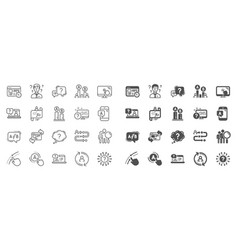 ux line icons set ab testing journey path map vector image