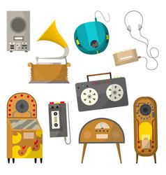 vintage music objects set retro audio jukebox vector image