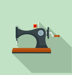 Vintage sew machine icon flat style vector