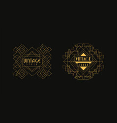 vintage style logo templates set luxury art deco vector image