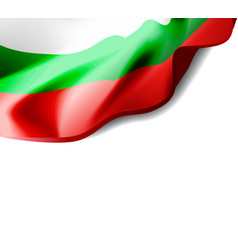 waving flag of bulgaria close-up with shadow vector image