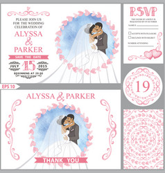 wedding invitation setkissing bridegroompink vector image