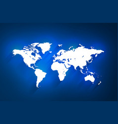 White world map on blue background vector