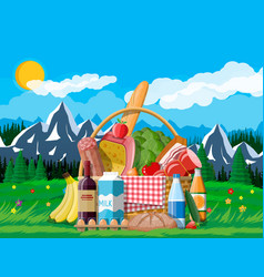 wicker picnic basket full products vector image