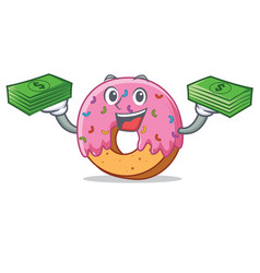 With money donut mascot cartoon style vector