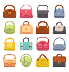 woman fashion bags icons set vector image