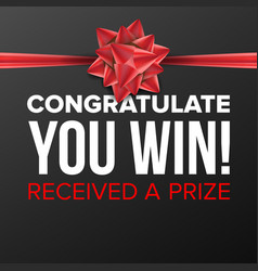 you win poster festive sign prize concept vector image