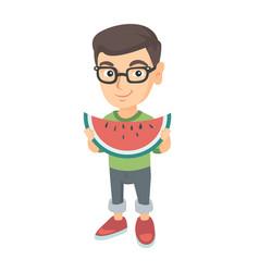 young caucasian boy eating delicious watermelon vector image