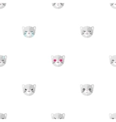 flat cartoon cat heads with different vector image vector image