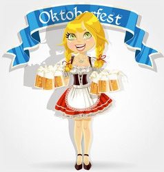 Pretty girl in traditional costume with a beer vector image vector image