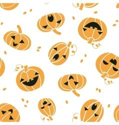 Smiling Halloween pumpkins seamless pattern vector image