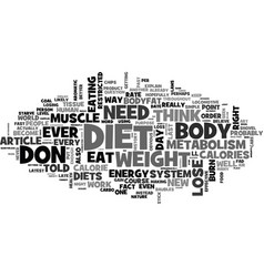 Why diets don t work text word cloud concept vector