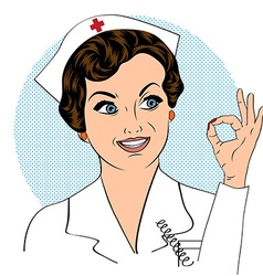 Beautiful friendly and confident nurse smiling vector image