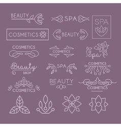 Beauty Industry Lettering and Curls Set vector image vector image