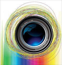 camera lens colorful background vector image