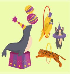 circus funny animals cheerful zoo vector image