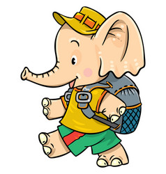 little baby elephant goes camping vector image
