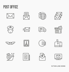 Post office related thin line icons set vector
