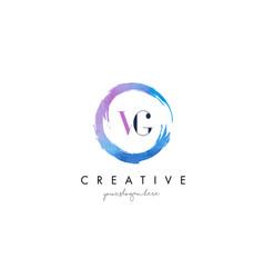 vg letter logo circular purple splash brush vector image vector image