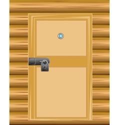 Wall with door on lock vector image vector image