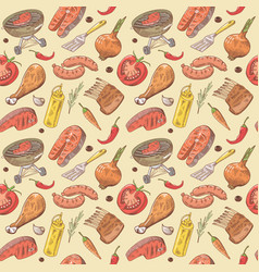 Barbecue and grill hand drawn seamless background vector