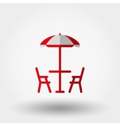Beach table under an umbrella and chairs vector image