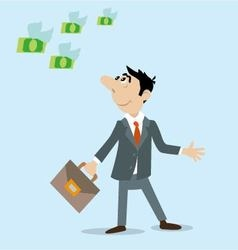 businessman look at the flying banknotes vector image vector image