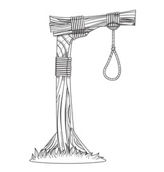 gallows sketch device for hanging for coloring vector image