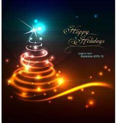 Modern neon Christmas tree vector image
