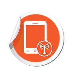 phone communication icon orange sticker vector image vector image