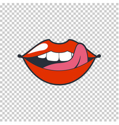 quirky lips patch sticker isolated on a vector image vector image