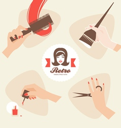 beauty shop icons vector image