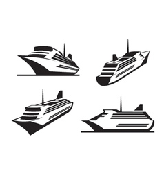 Cruise ships in perspective vector image vector image