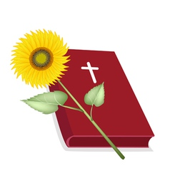 Holy Bible with Wooden Cross and Sunflower vector image vector image