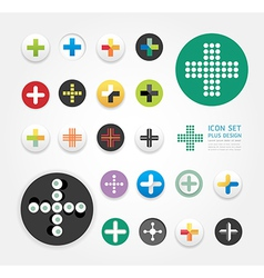 Icons plus design set vector