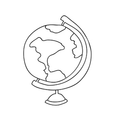 monochrome contour with map of the world vector image vector image