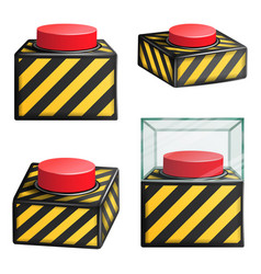 red panic button set isolated red alarm vector image