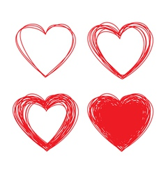 Set of Hand Drawn Scribble Hearts design elements vector image vector image